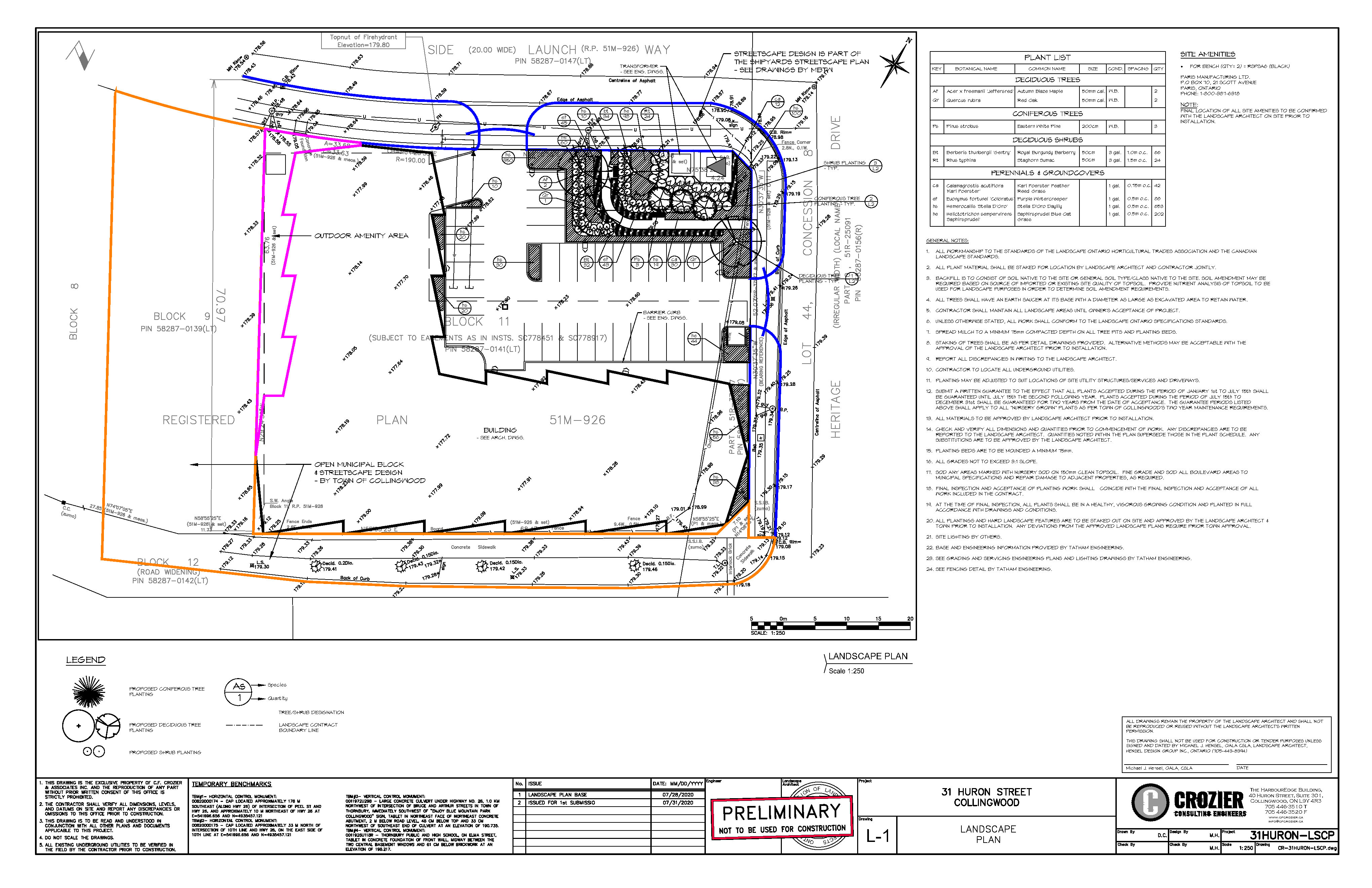 Landscaping Plan for 31 Huron St., Collingwood, ON