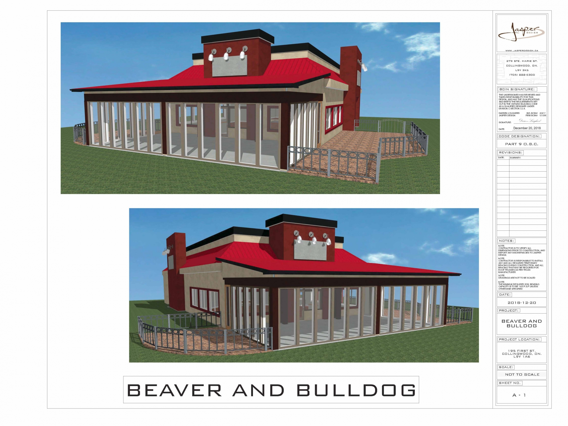 Artist Rendering of Beaver & Bulldog new patio located at 195 First Street