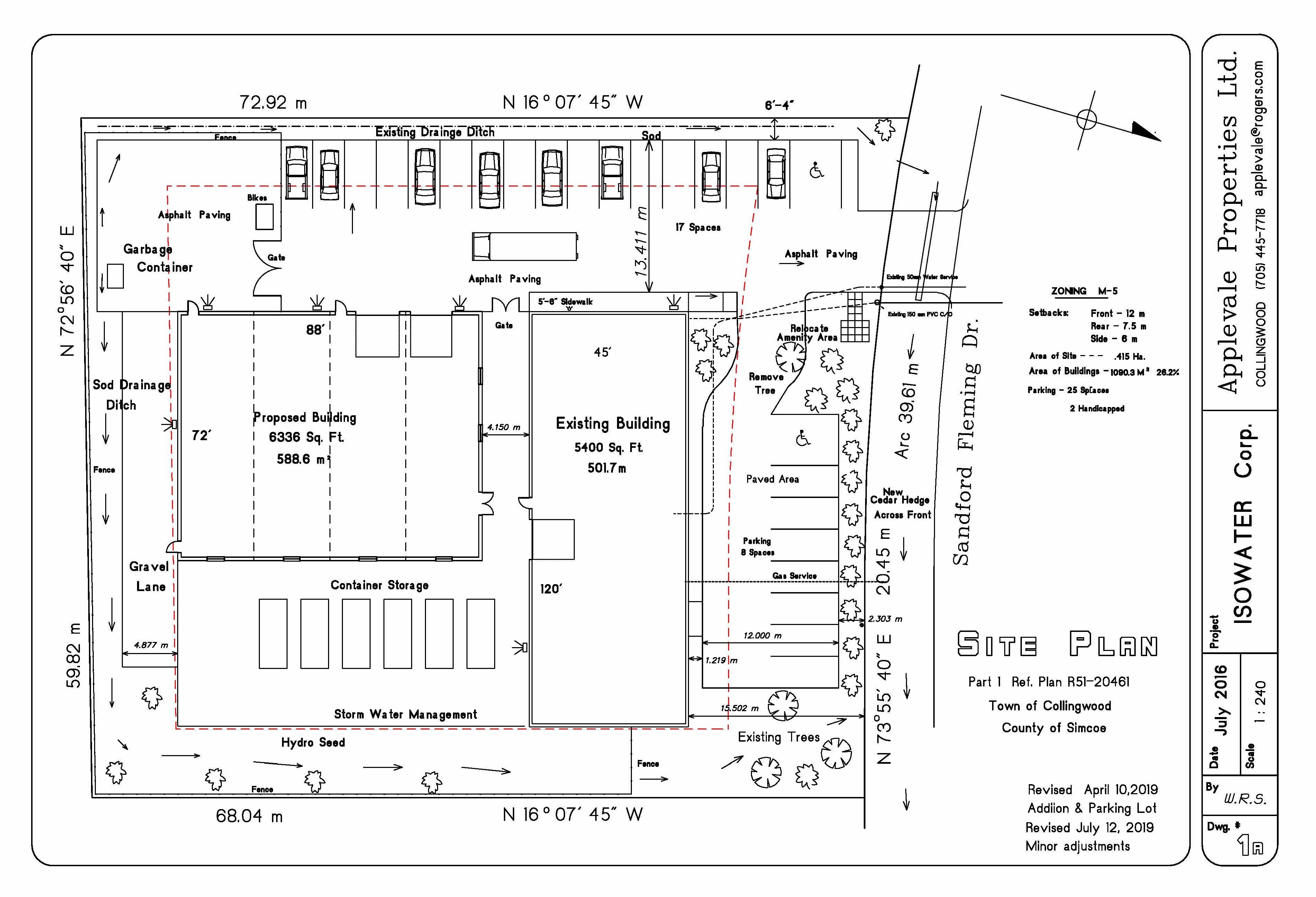 Site Plan for Isowater Industrial Building at 40 Sandford Fleming Drive Collingwood, ON