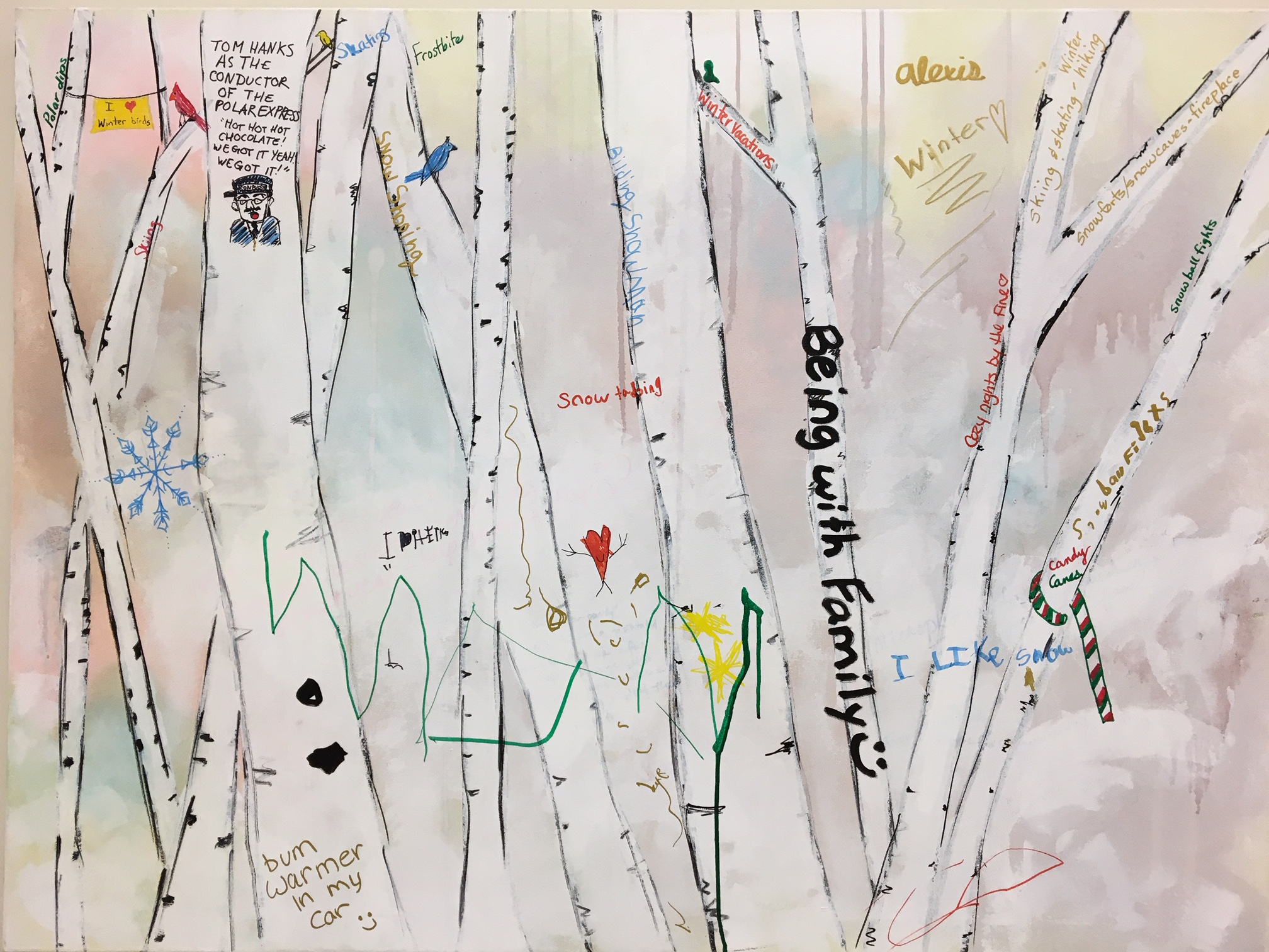 A canvas of words and sentences about winter