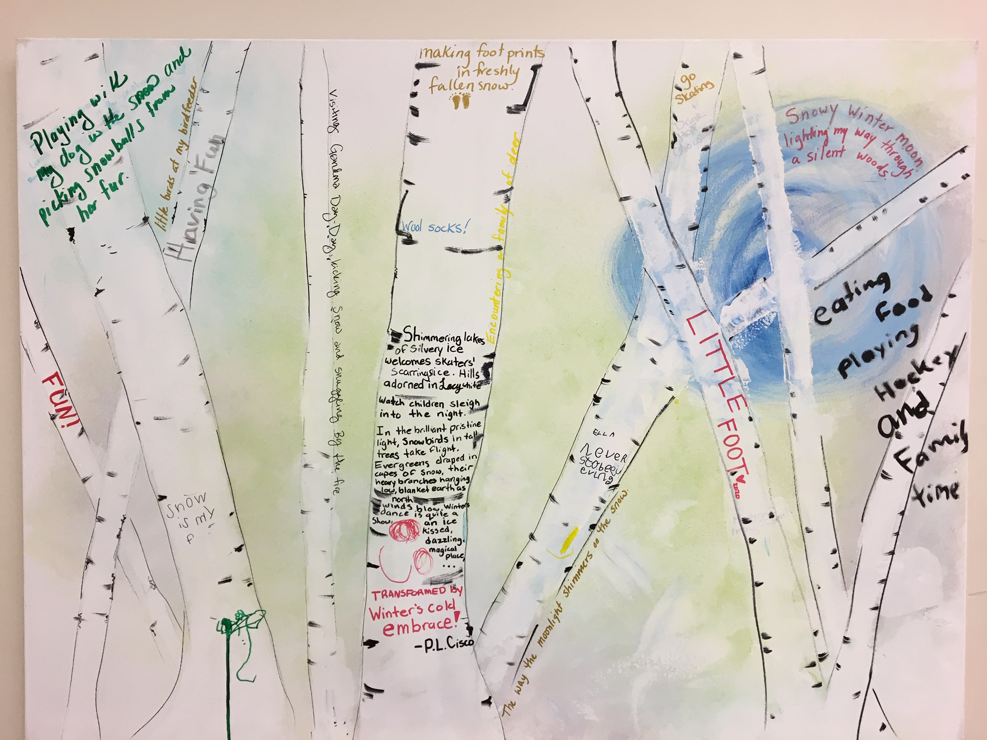 Words and sentences about winter by participants at the Art of Winter Festival