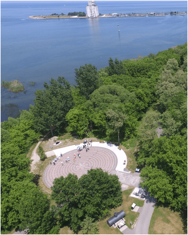 Aerial view of the Collingwood Labyrinth