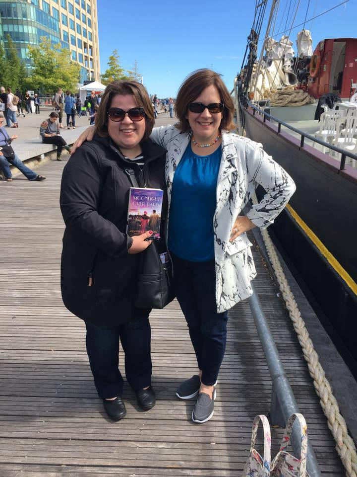 Leila Goreil and Jennifer Robson at the Word on the Street Festival in Toronto with Robson's book Moonlight over Paris
