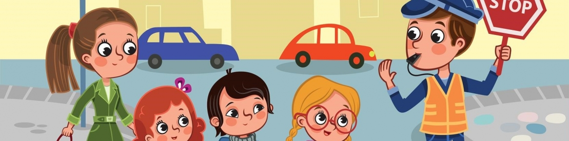 Graphic of children and a school crossing guard