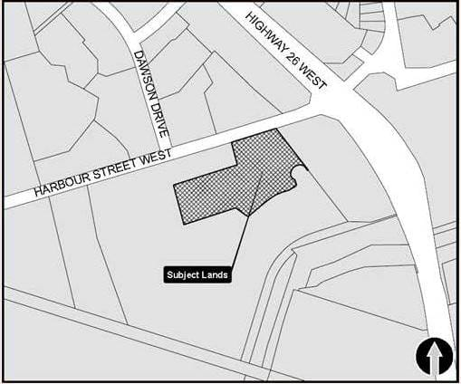 Location Map of Balmoral Village Retirement Residence located at 14 Harbour Street West and Hwy 26 West