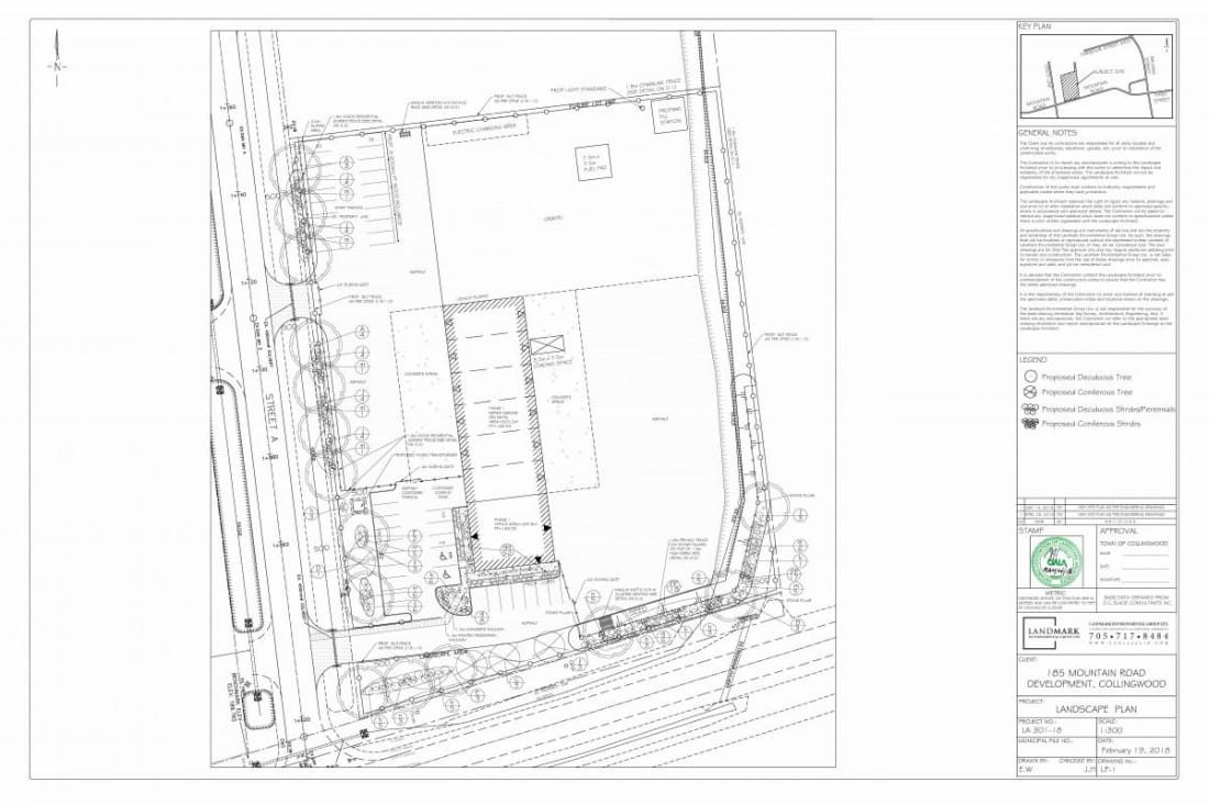Landscape plan for Sunbelt Rentals Town of Collingwood Mountain Road and Greco Road
