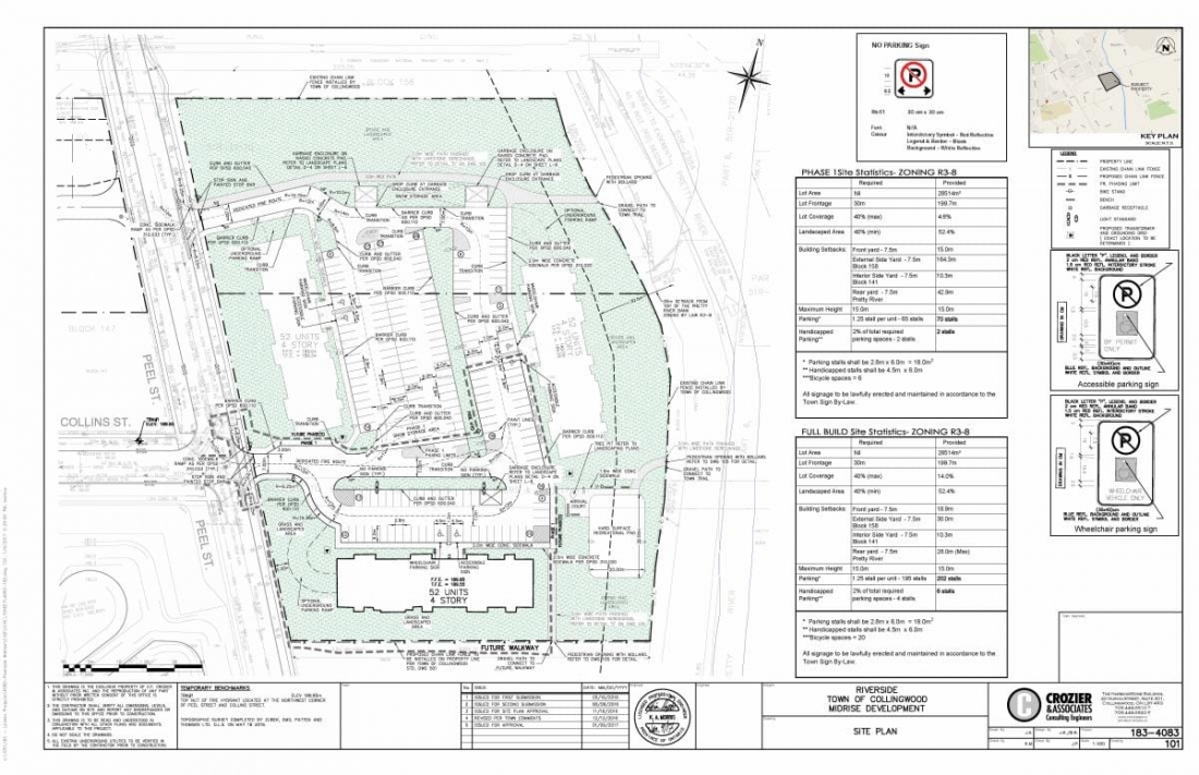 Site Plan for Riverside Midrise located at Peel and Collins Streets, Collingwood, ON
