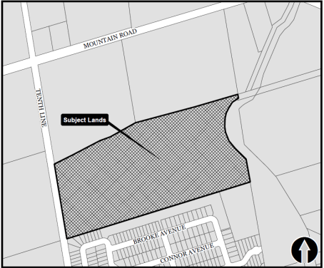 Location Map for Red Maple Subdivision located in Collingwood, Ontario on 10th Line approximately north of 6th Street