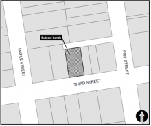Location map of 75 Third St in the Town of Collingwood
